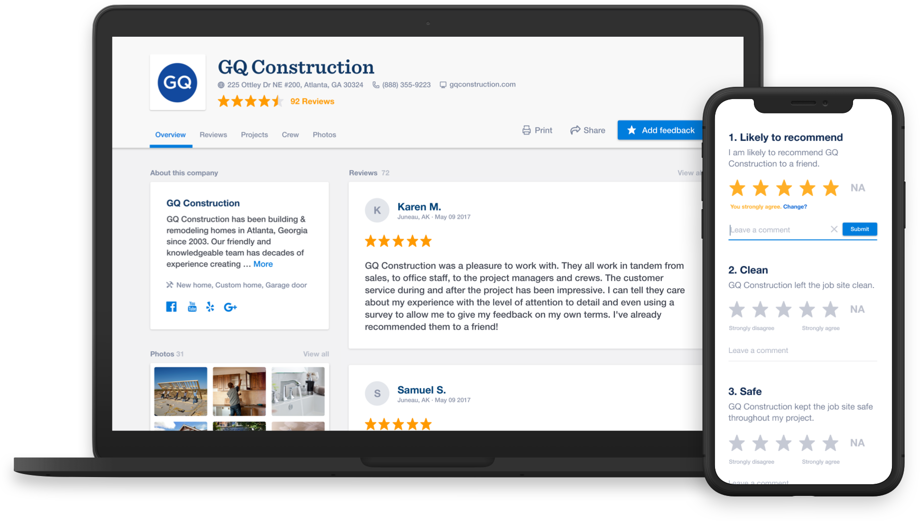 GuildQuality offers affordable online customer satisfaction surveys compatible with all platforms and devices: mobile, tablet, desktop, pc, mac, android, ios, and more.
