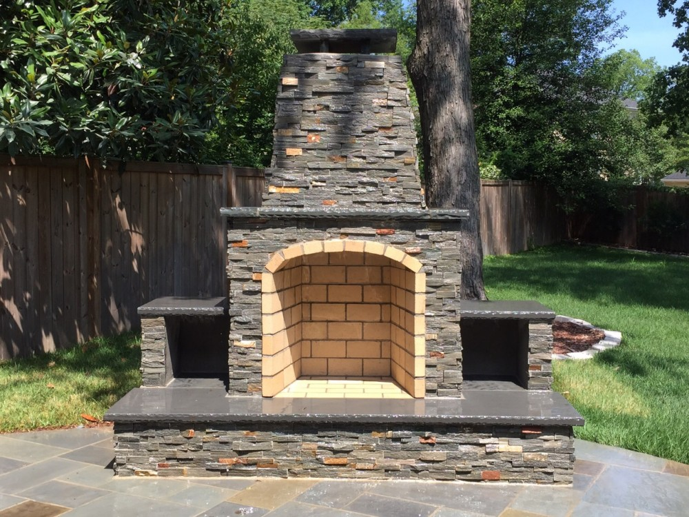 Photo By American Exteriors & Masonry. Patio, Outdoor Kitchen, And Fireplace In Manassas, VA