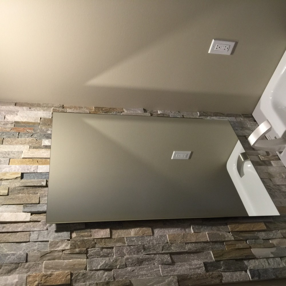 Photo By Interiors With Elegance. Two Piece Renovation With Floating Vanity And Mirror