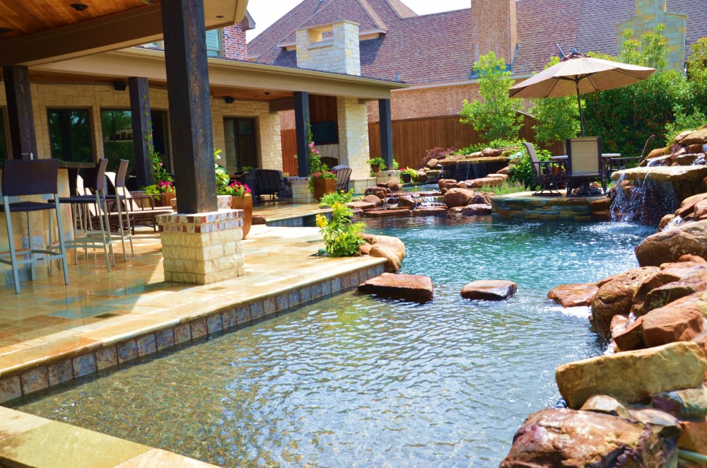 Photo By Hauk Custom Pools, LLC. Outdoor Living Area Entry