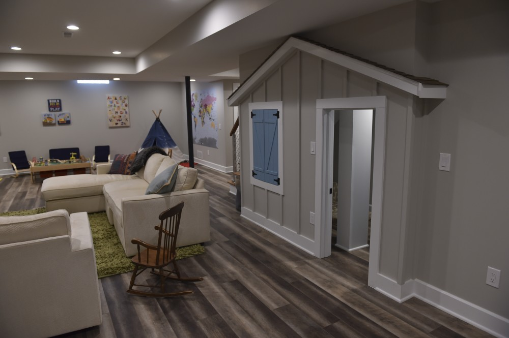 Photo By Hurst Design Build Remodel. Family-Friendly Basement