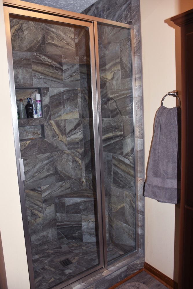 Photo By Romanoff Renovations. Master Bath Shower Install