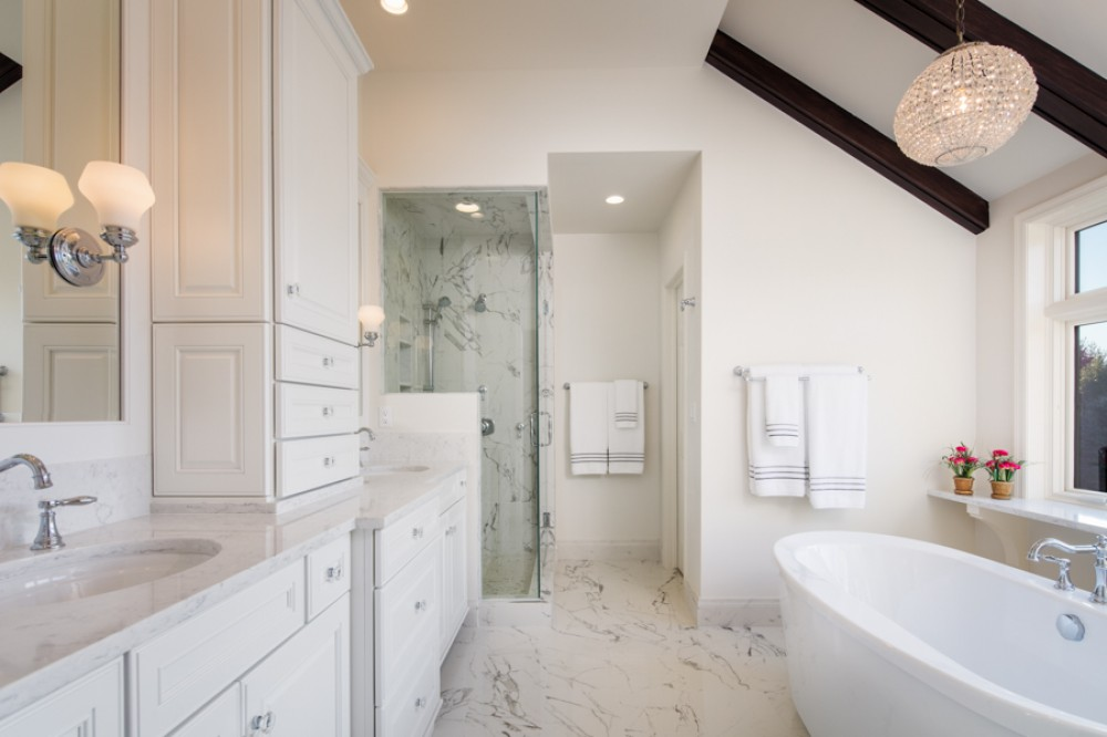 Photo By HC Remodel & Design. Stunning White Total Bath Makeover