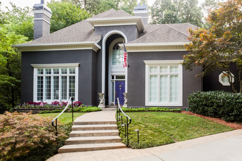 Photo By SuperiorPRO. Stucco Painted Grey - With A Pop Of Purple!