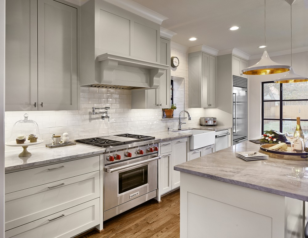 Photo By Blackline Renovations. Kitchen & Hall Bath Remodel
