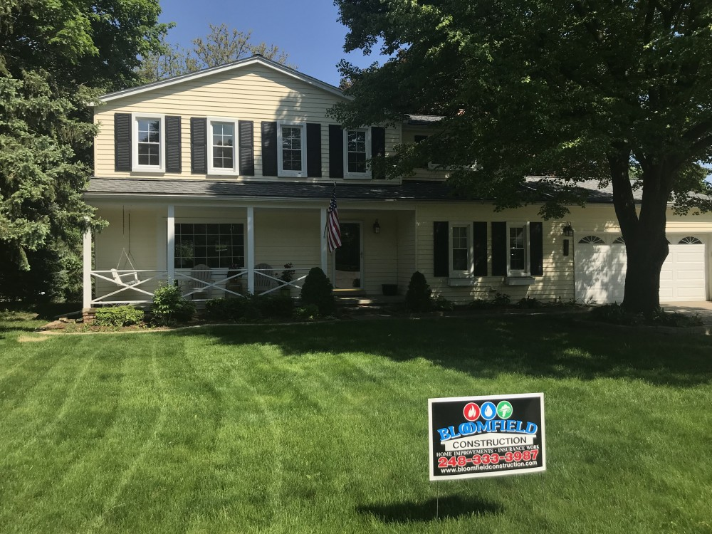 Photo By Bloomfield Construction Company. Job Sign In Yard And Roof Done !