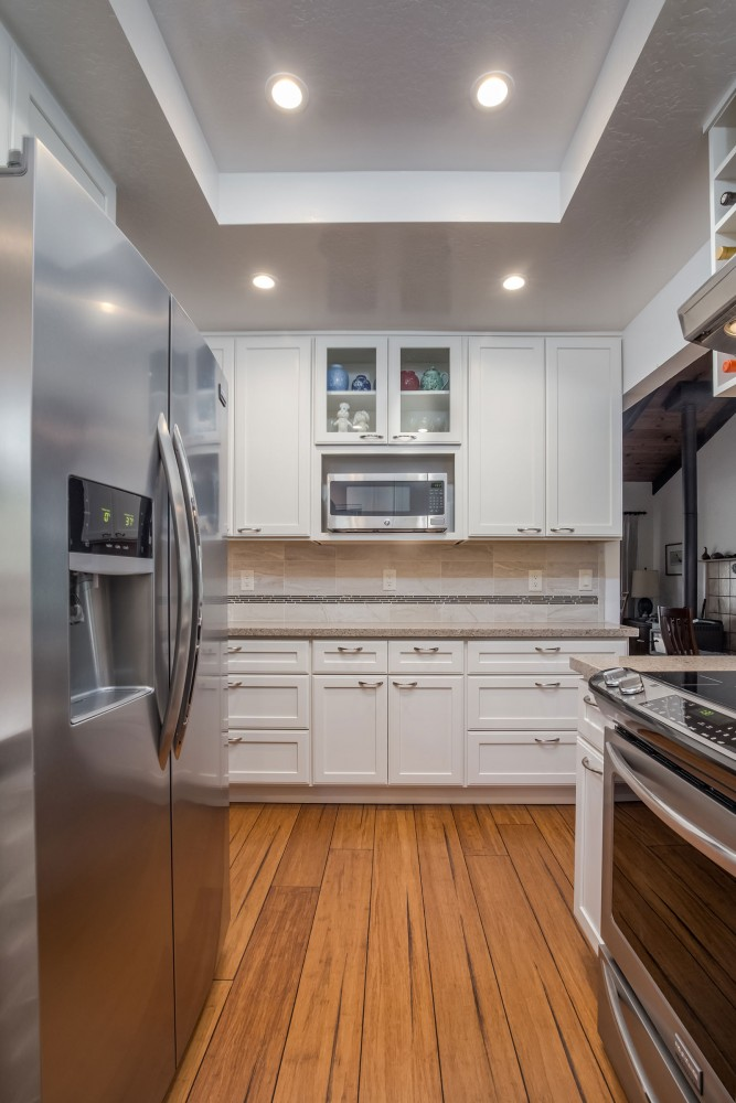 Photo By Talmadge Construction, Inc. Small White Contemporary Kitchen Remodel