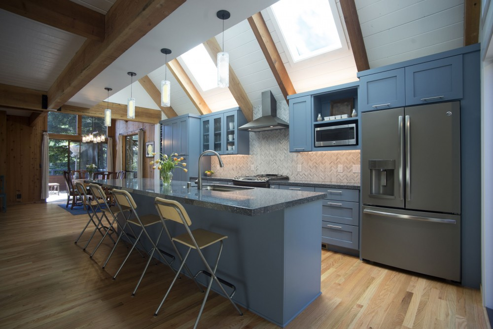Photo By Talmadge Construction, Inc. Large Blue Contemporary Kitchen W/ Vaulted Ceilings