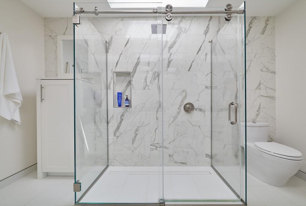 Photo By CARNEMARK Design + Build. SNOW WHITE - NW Washington Bath Remodel