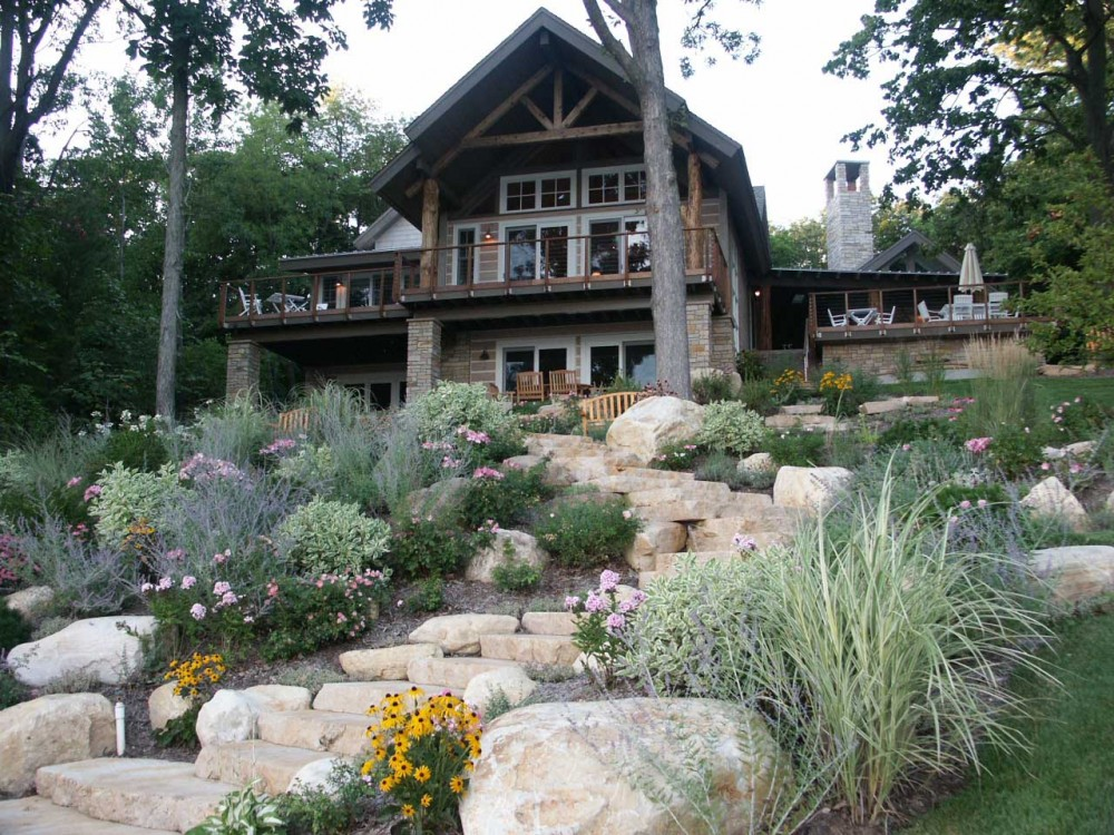 Photo By Thelen Total Construction Inc. Rustic Log Home Get-Away