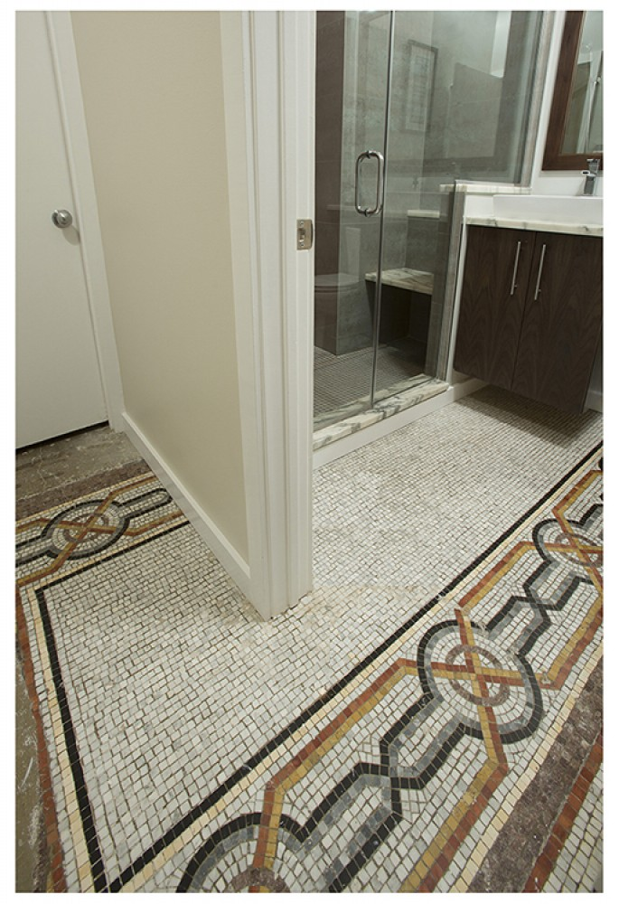 Photo By Landis Architects/Builders. Romanesque Revival Mosaic Floor Provides Color Inspiration For Bathroom Remodel