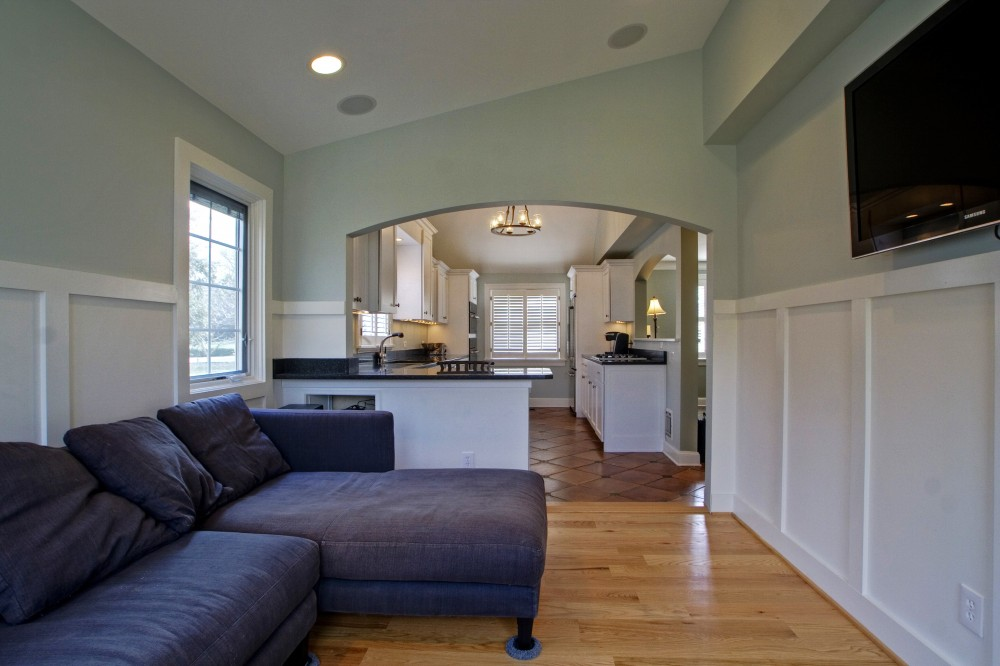 Photo By Broderick Builders. Main Floor Remodel-Kitchen/Family Room
