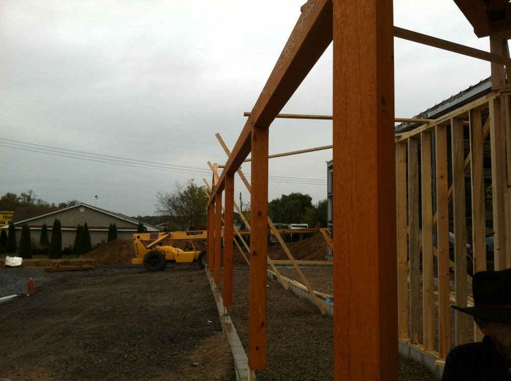 Photo By Lancaster County Timber Frames, Inc.. Timber Frame Entry -Hardware Store Location