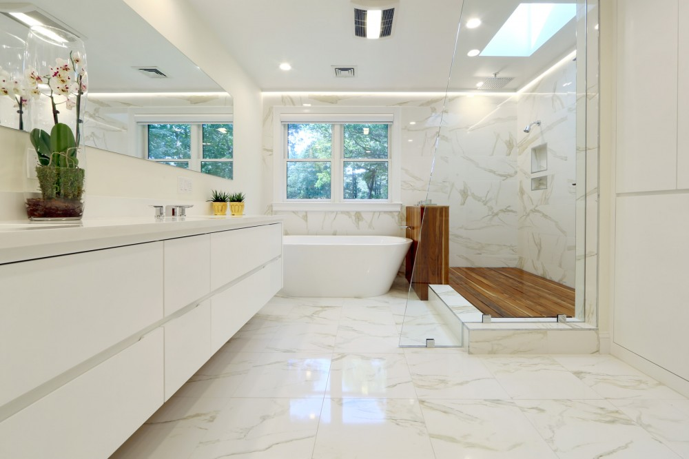 Photo By New England Design & Construction. Chestnut Hill Master Bath Remodel