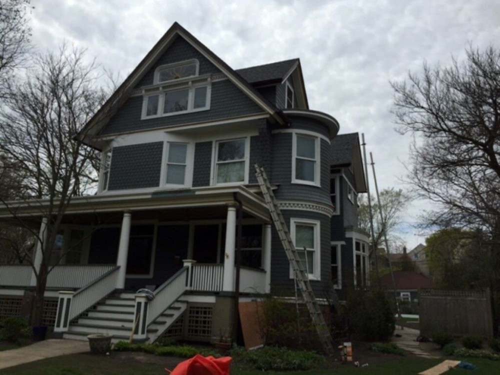 Photo By A.B. Edward Enterprises, Inc..  Cedar Shake Siding Project - Evanston IL