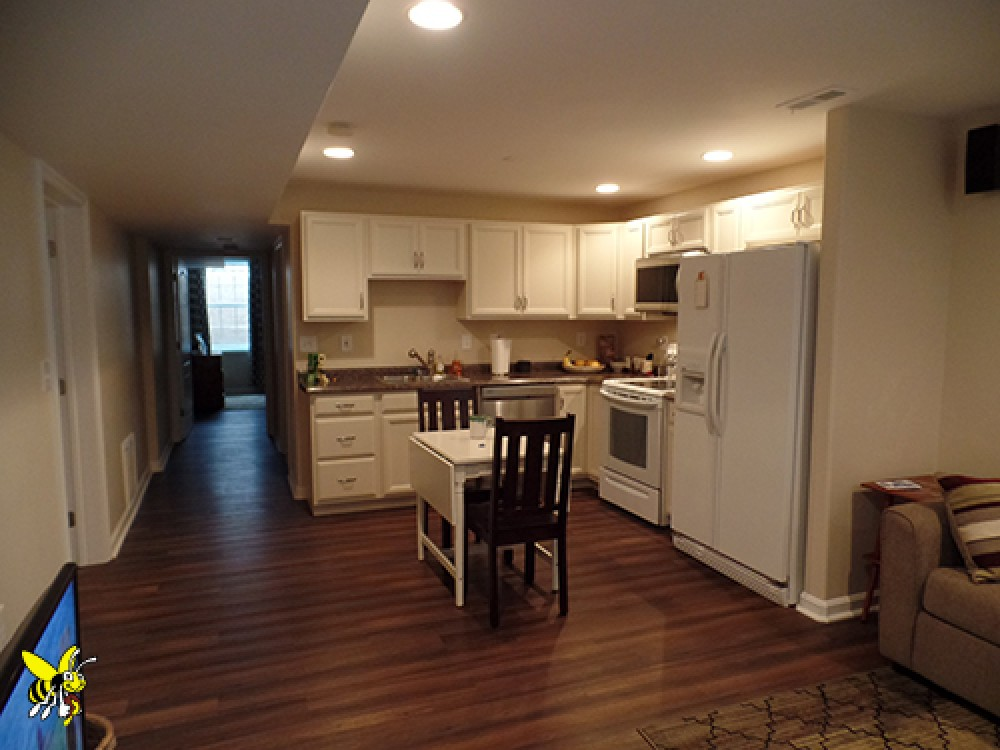 Basement finishing company bluffs basement finished for Armstrong kitchen cabinets reviews