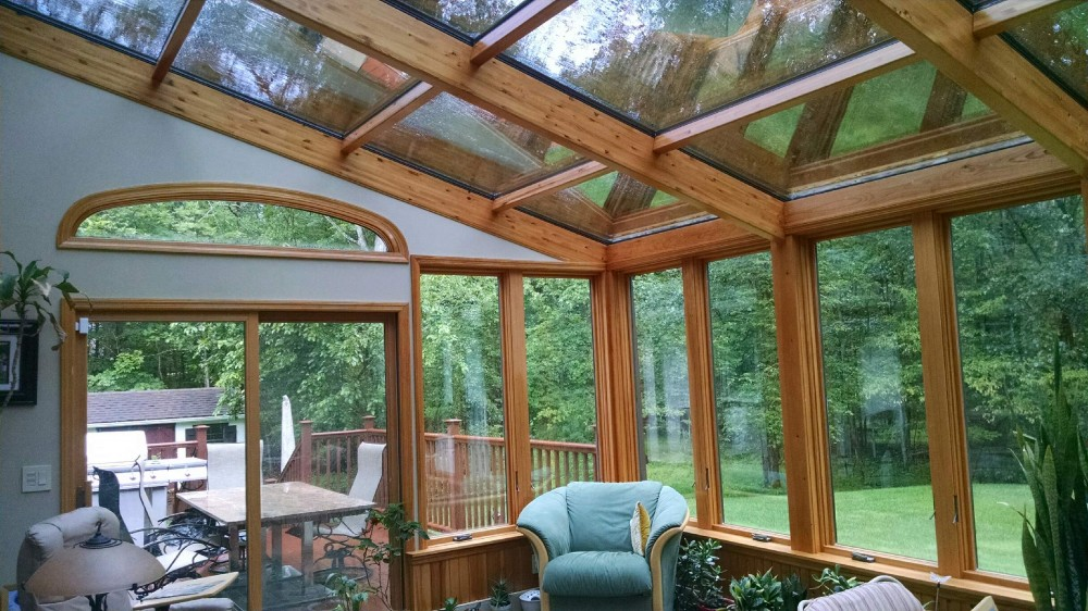 Photo By Hudson Valley Sunrooms. System 8 Straight Eve Design (Wood Interior)